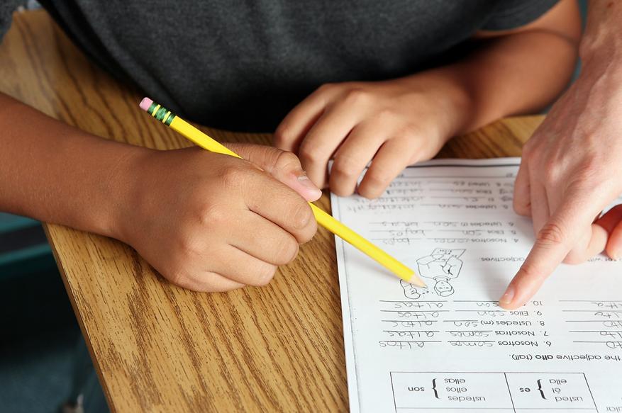 niño o niña rellenando fichas o haciendo deberes con su padre o madre