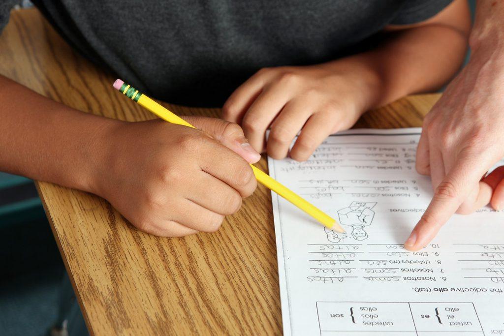 Niño o niña rellenando fichas o haciendo deberes
