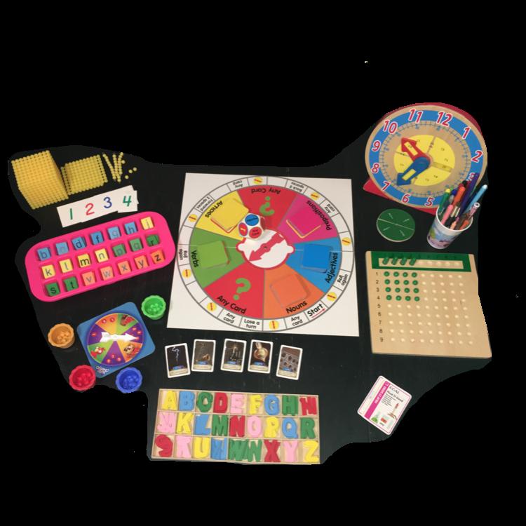 Recursos educativos, juegos y otros materiales manipulativos